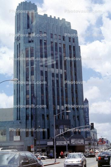 Franklin Life building, (the Pellissier Building), offices, Wiltern Theater, Koreatown, highrise, cars, Wilshire Blvd,, landmark