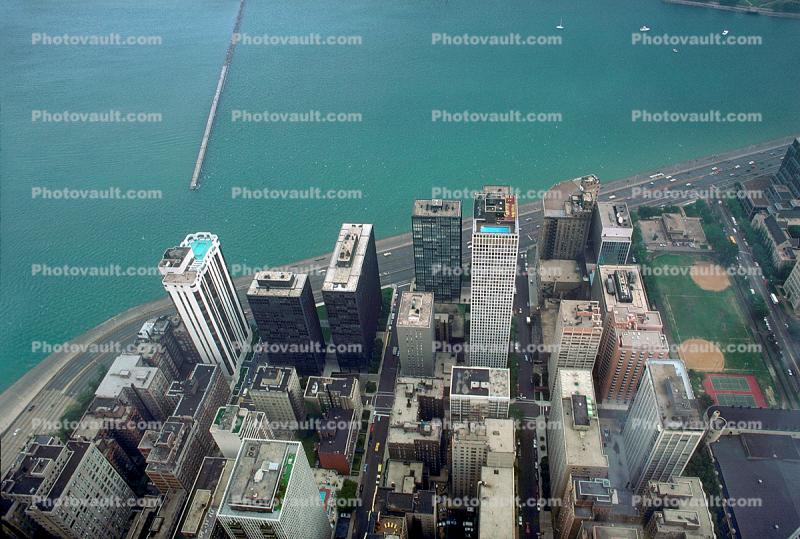 skyscrapers, buildings, Looking Down, Lake Michigan, Lakeshore Drive, Skyline, cityscape, coastal