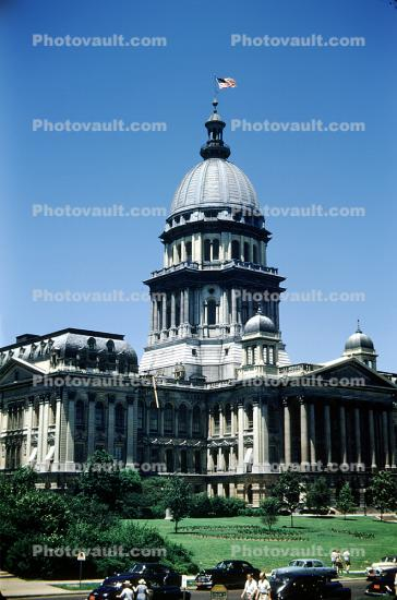 Illinois State Capitol, Building, Car, Automobile, Vehicle, 1950's