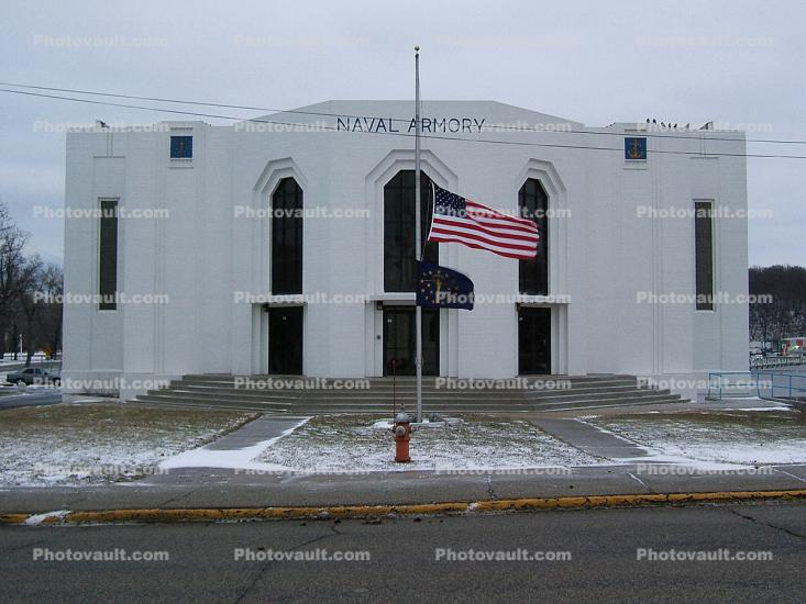 Naval Armory, Michigan_City, Flag at Half Mast, State Flag, Snow, Winter