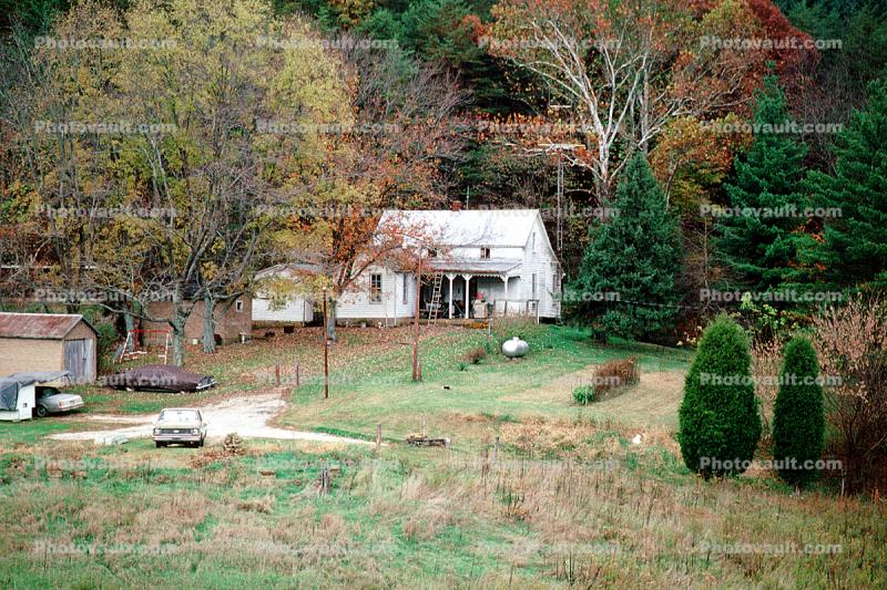 Home, House, Building, Fall Colors, Farm, Shed, Fields, autumn
