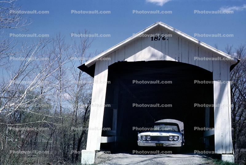 1876, Roseville, Covered Bridge, Parke County, Car, Automobile, Vehicle, 1963, 1960's