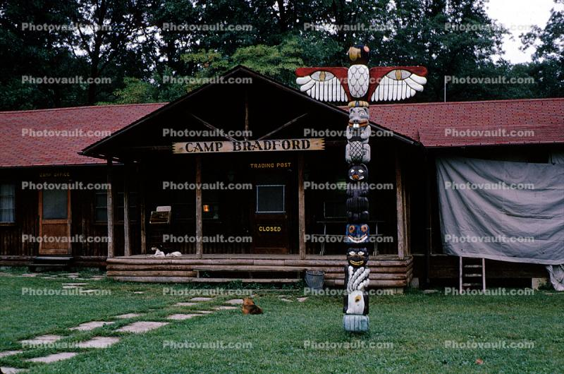 Totem Pole, Bradford Woods, Camp Bradford, building, 1965, 1960s
