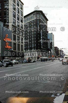 Lerner Shops, buildings, downtown, Indianapolis, Cars, automobile, vehicles, 1950s