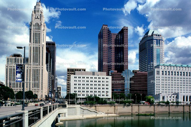 Scioto River, LeVeque Tower, Bridge, Huntington Tower, Riffe Tower, Downtown Riverfront, landmark