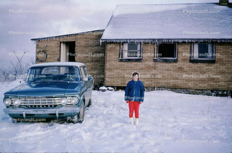 Rambler, Cold Girl, Home, House, Icicles, Car, Automobile, Vehicle, 1956, 1950s