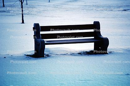 Bench in the Snow, lonely bench