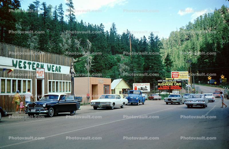 Buildings, Shops, Highway, Roadway, Cars, Automobiles, Vehicles, Custer, Black Hills, June 1967, 1960s