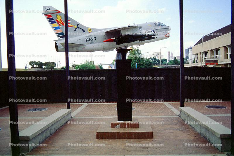 A-7E Corsair jet attack aircraft from the Vietnam era, Louisiana Memorial Plaza, Baton Rouge