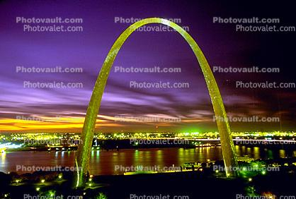 The Gateway Arch, Twilight, Dusk, Dawn, Night, Nighttime, Exterior, Outdoors, Outside