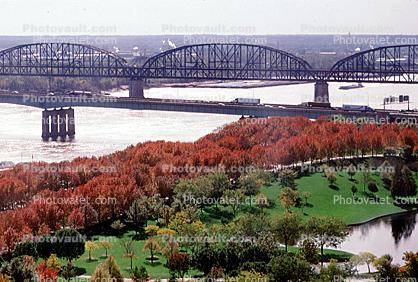 Autumn, Deciduous Trees, Fall Colors, River, Bridge, Water, Waterside, Woodland
