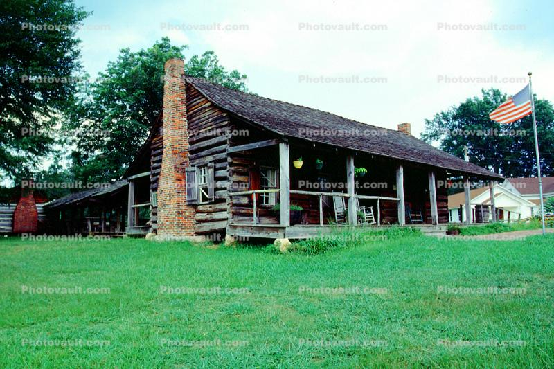 log cabin, Chimney, building, home, house, porch