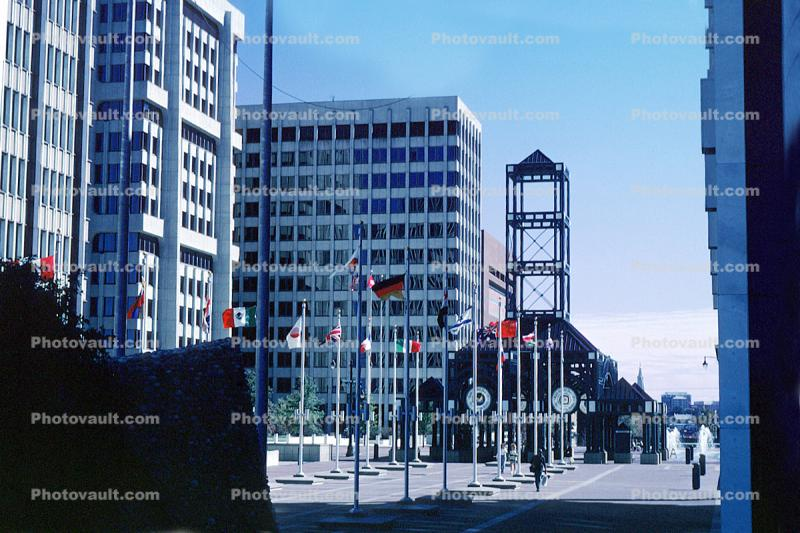Trolley Stop, Main Street Line, (MATA Trolley), Civic Center Plaza, tower, building
