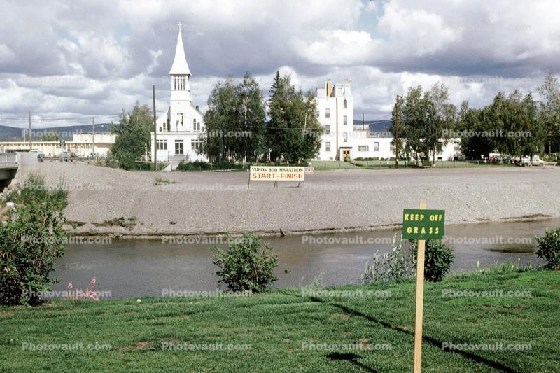 Chena River, Immaculate Conception Church, steeple, cross, building, Roman Catholic Church, River, Buildings, Keep off Grass, Fairbanks