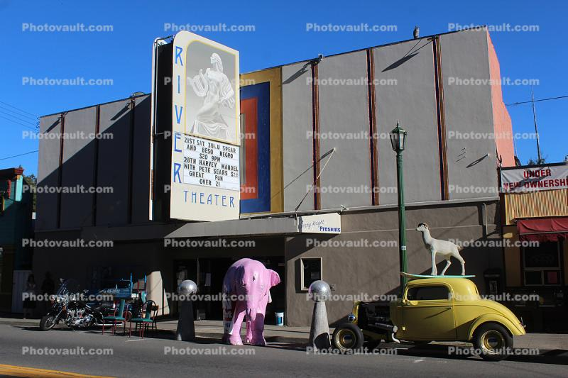 Pink Elephant, Theater Marquee, roadster, motorcycle, car