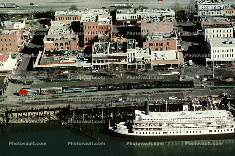 Old Town, Delta King, paddle wheel steamboat on the Sacramento River, Santa Fe Train, Dock