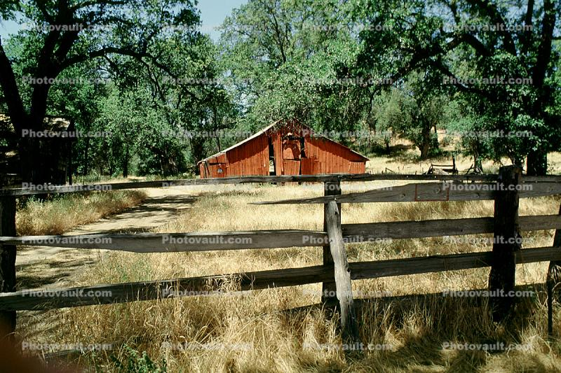 Barn, Fence, Gate, Trees, Building