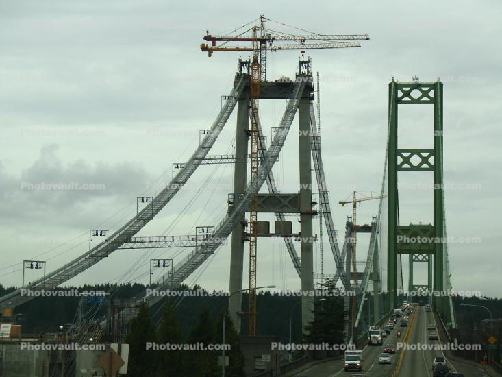 Tacoma Narrows Bridge, Suspension Bridge, construction of the new bridge