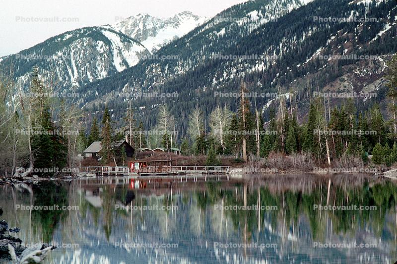 Buildings, Lodge, trees, Reflection, Jenny Lake