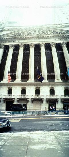 NYSE, New York Stock Exchange, Panorama, snow, winter, wintertime, building, Manhattan