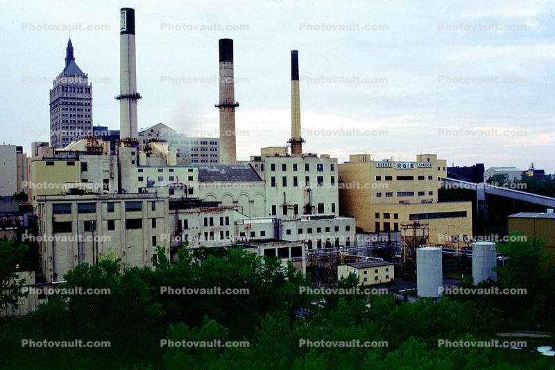 Factory, Smokestacks, skyline, Rochester