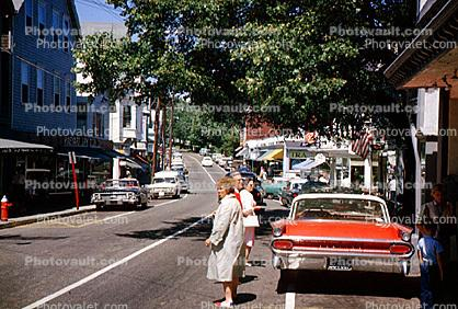 Buick car, automobile, sedan, Main Street, Martha's Vineyard, August 22 1963, 1960's