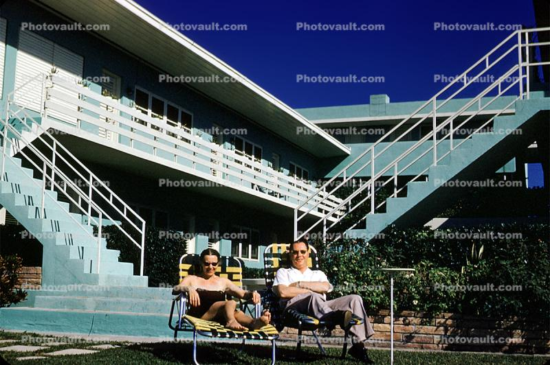 Motel, Poolside, Man, Woman, Sunning, lounging, steps, stairs, balcony, 1950's