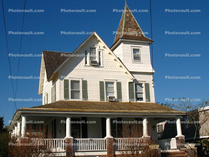 Building, Home, House, mansion, tower, steeple, porch, Cape May