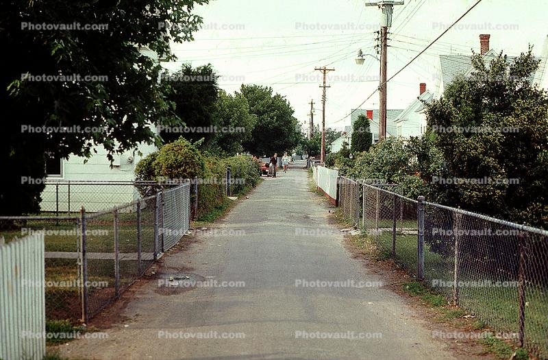 Pathway, fences, July 1974, 1970s