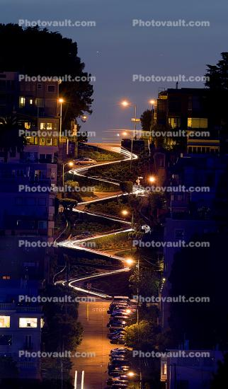 Lombard Street, Panorama, Twilight, Dusk, Dawn, Hairpin Turns, Switchback, S-curve, curviest, homes, houses, buildings