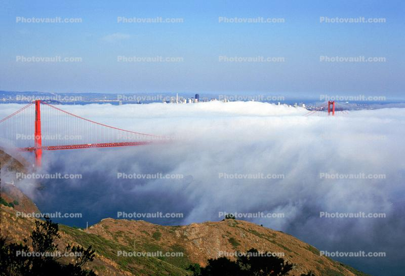 Golden Gate Bridge touched by the fog