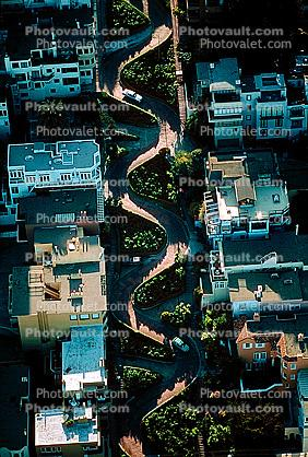 Hairpin Turns, Switchback, S-curve, curviest, homes, houses, buildings, rooftops