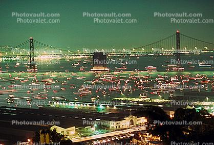 50th anniversary party celebration for the Bay Bridge, Boats, Docks, piers, buildings, the Embarcadero