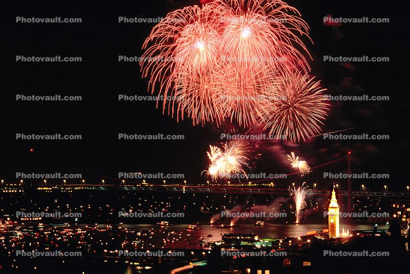 Fireworks, Boats, buildings, the Embarcadero, 50th anniversary party celebration for the Bay Bridge