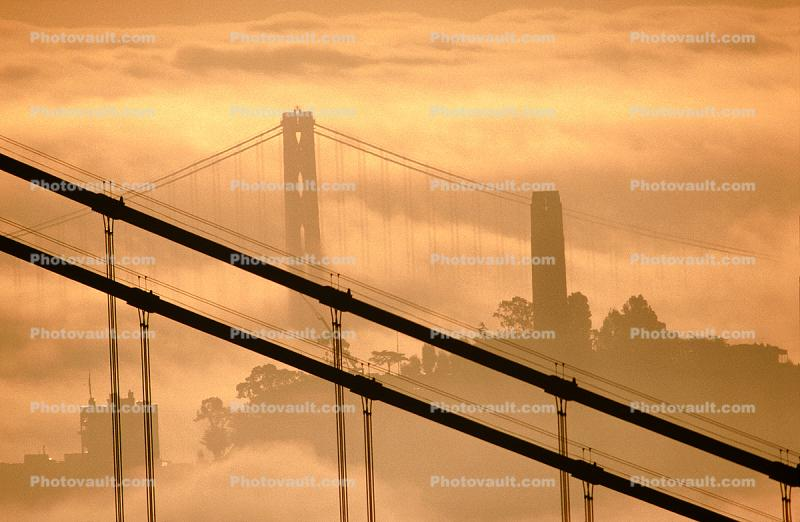 San Francisco Oakland Bay Bridge, Golden Gate Bridge, Coit Tower, Sunrise, detail