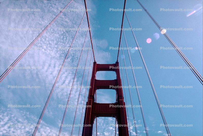 Golden Gate Bridge, Clouds, Cable
