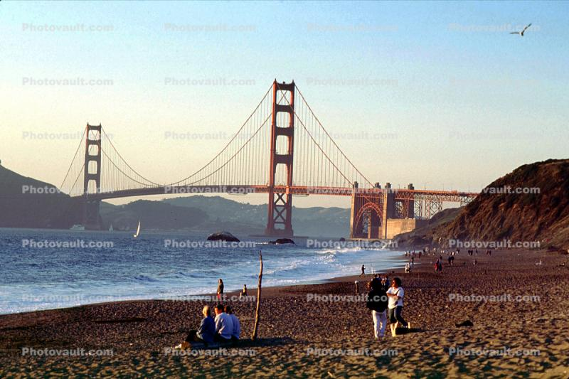 Golden Gate Bridge, Baker Beach, Waves, Pacific Ocean