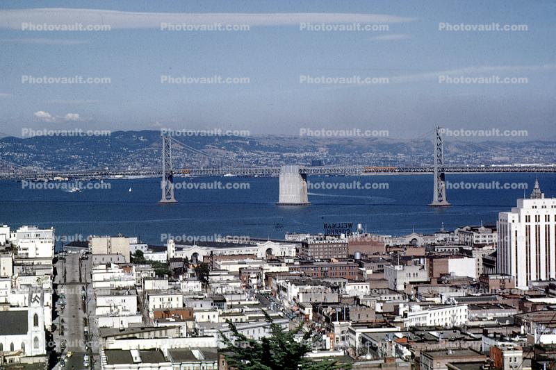 The Embarcadero, docks, piers, Buildings, eastbay hills, 1950s