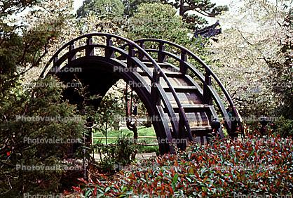Japanese Tea Garden detail, Taiko arch bridge, 1965, 1960s
