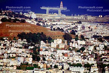 Bernal Heights, Hunters Point, Gantry Crane, overhead traveling crane, from Twin Peaks