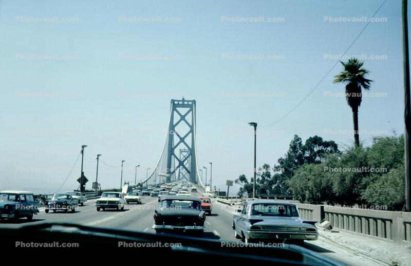 Two way Traffic, cars, automobile, vehicle, San Francisco Oakland Bay Bridge, August 1962, 1960s