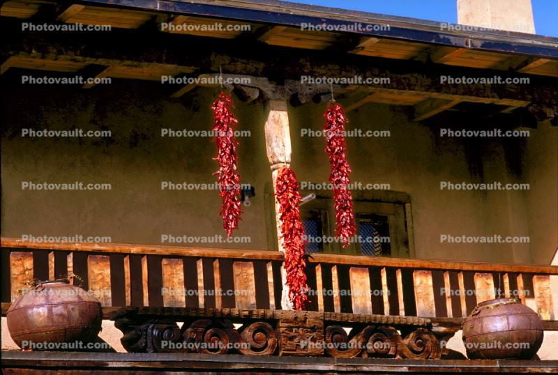 Hanging Chili Pepper Pods, balcony, building