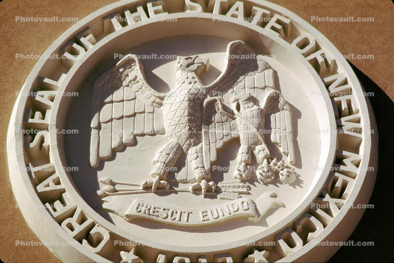 Great Seal of the State of New Mexico, Seal, Emblem, Logo, Crescit Eundo, bar-Relief