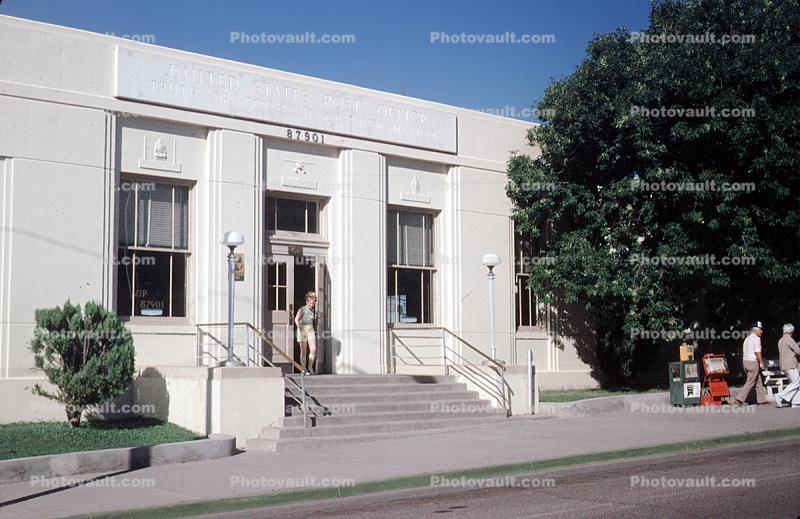 Post Office, Building, Stairs, Steps, Sidewalk, Albuquerque