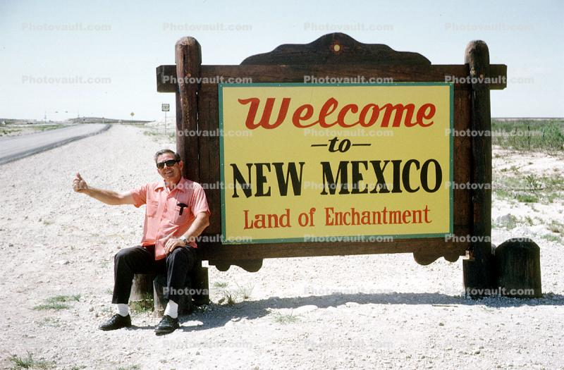 Sign, signage, billboard, hitch hiking, hitchiking, Man, funny, Welcome to New Mexico