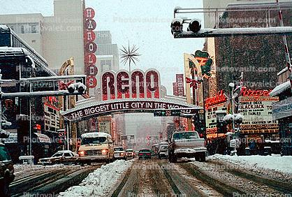 Reno Arch, Virginia Street, Downtown, snow, blizzard, sleet, storm, Cold, Ice, Winter, Wintry, railroad crossing, Cars, vehicles, Automobile