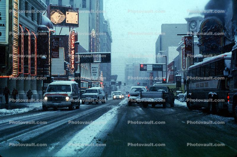 Virginia Street, Reno, Downtown, snow, blizzard, sleet, storm, Cold, Ice, Frozen, Icy, Snowy, Winter, Wintry