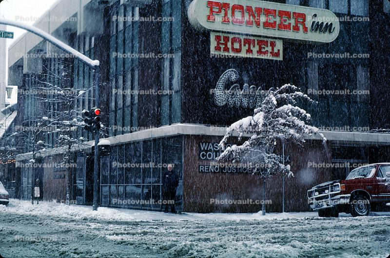 Pioneer Inn Hotel, Downtown Reno, snow, blizzard, sleet, storm, Cold, Ice, Frozen, Icy, Winter