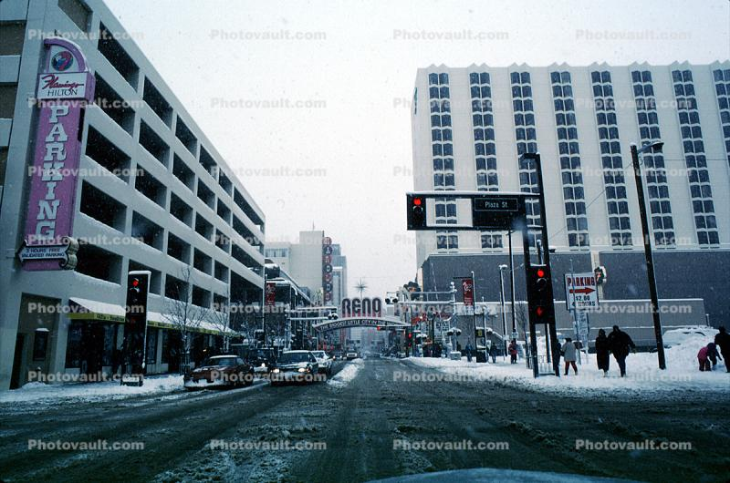 Virginia Street, Downtown, Reno Arch, Parking structure, stop lights