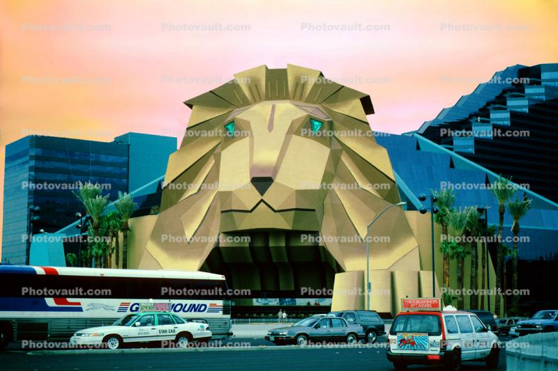 MGM Grand Hotel, Greyhound Bus, Lion Entrance, taxi cab, cars, street